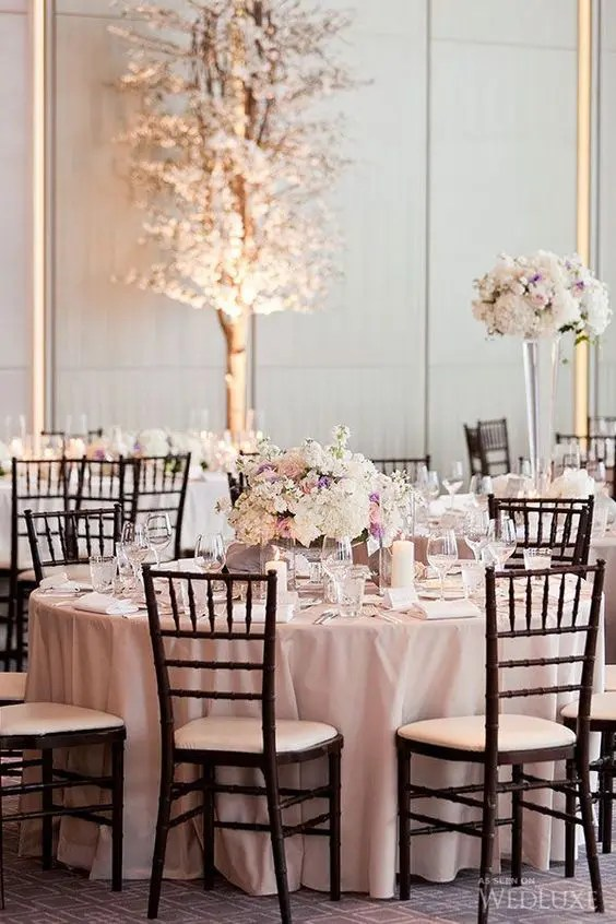 blush and ivory wedding table setting, dark chairs