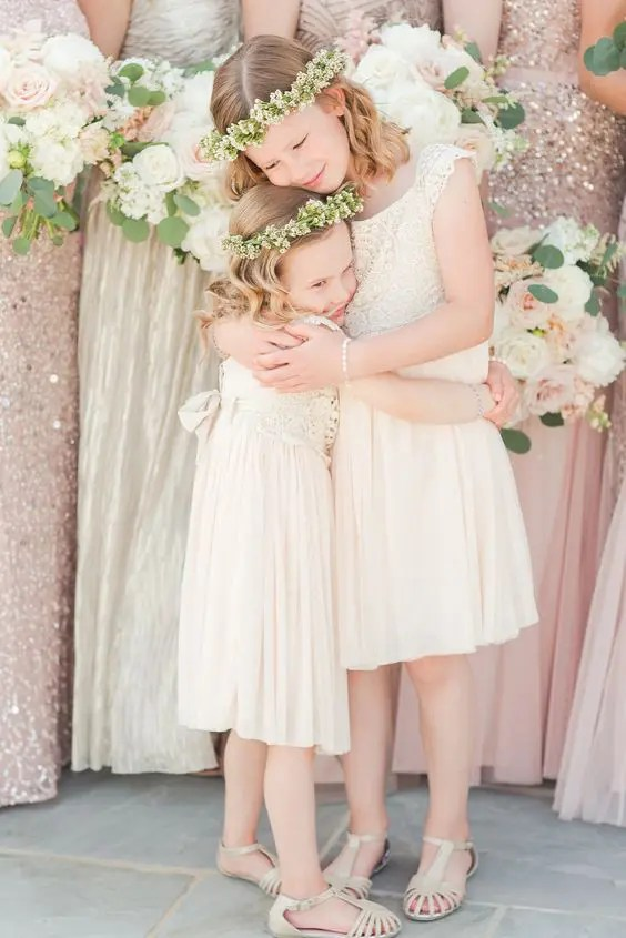 ivory lace bodices and plain skirts