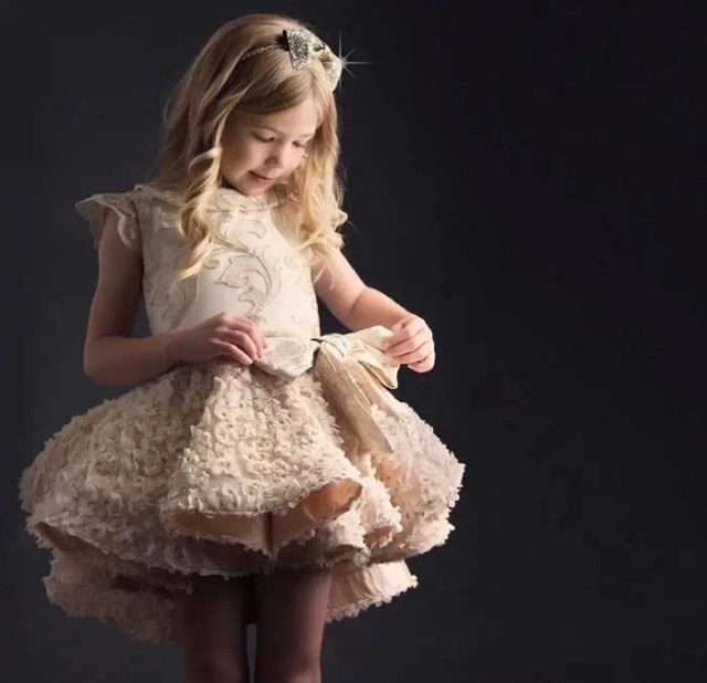 ivory dress with a pleated floral skirt and a plain top with ruffle sleeves