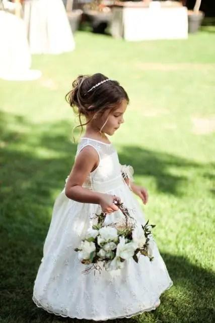 white illusion neckline long dress