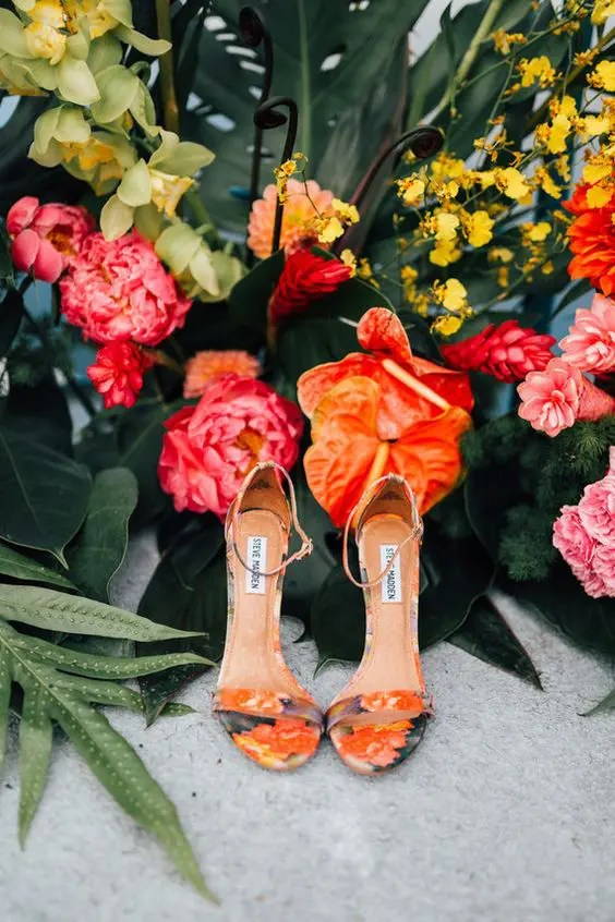 colorful floral print shoes will be nice for a tropical wedding