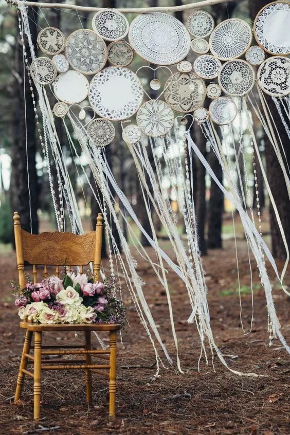 crochet dreamcatcher wedding backdrop with ribbons
