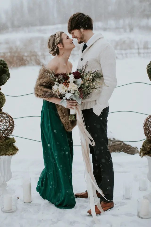 Picture Of Strapless Emerald Wedding Dress With A Brown