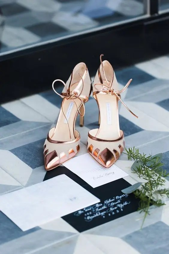 Brautschuhe Kupfer