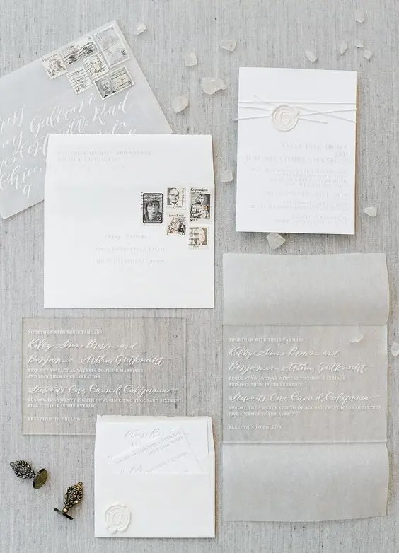 Picture Of Acrylic And Paper Pressed Wedding Invitations In