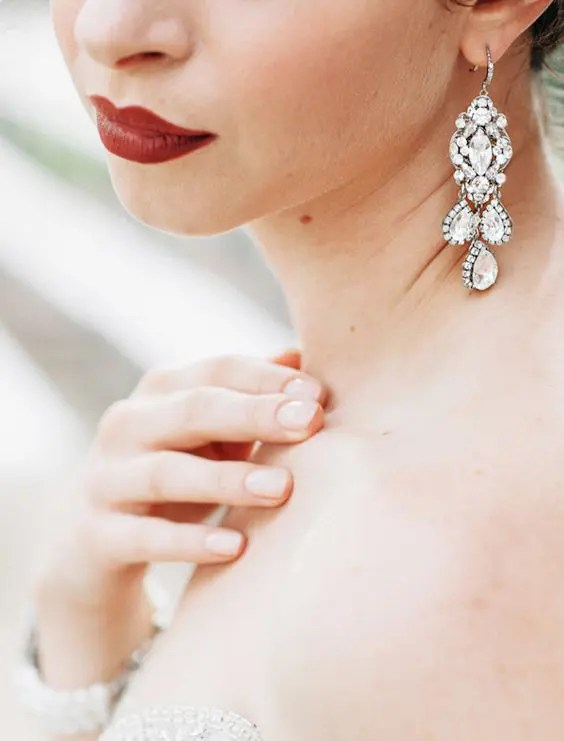 pretty statement chandelier earrings with rhinestones to look chic