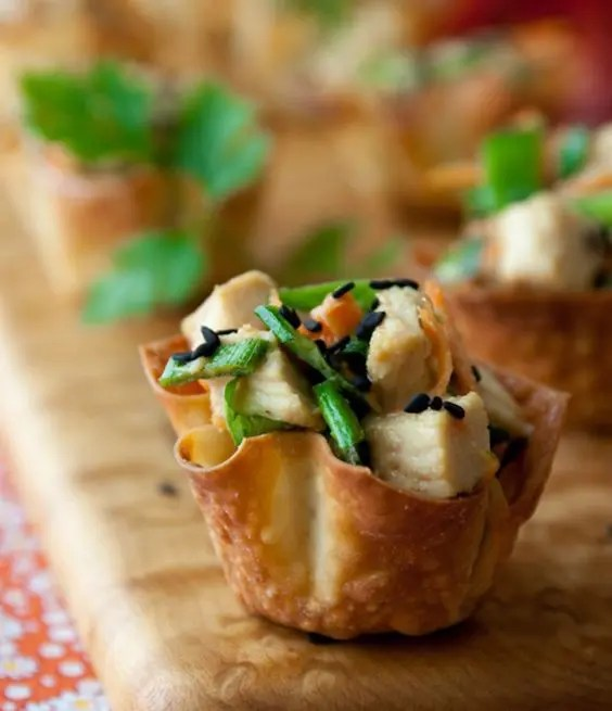 sesame chicken wonton cups are tasty, spicy and sumptuous