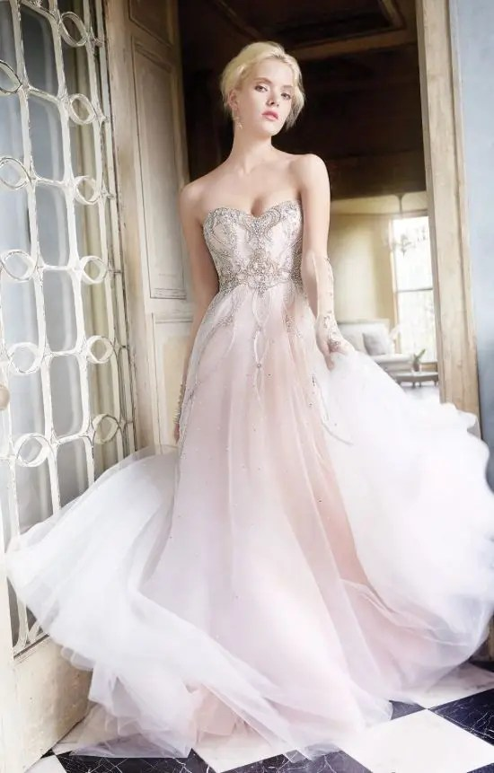 28 Dreamy Pink Wedding Gowns For Romantic Brides