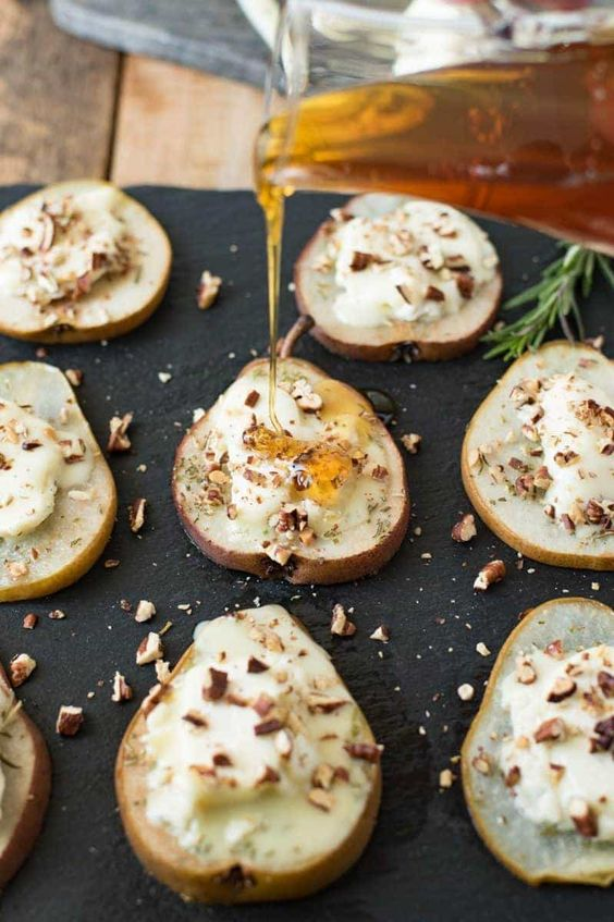 baked pears with Chevrot goat cheese, honey, rosemary and pecans are an exquisite thing to try