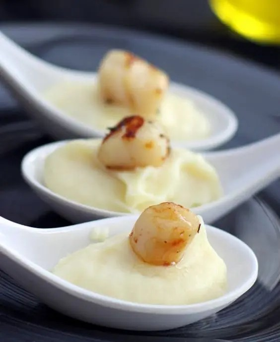 sea scallops with cream of parsnip and truffle oil appetizer spoons are an elegant and delicious thing