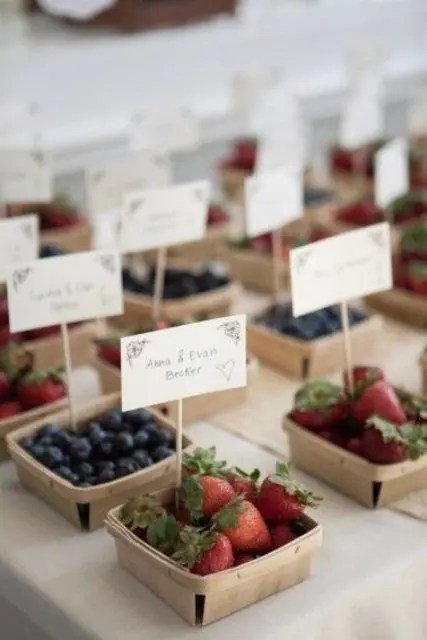 assorted berries in boxes holding escort cards can be delicious favors, too, very functional