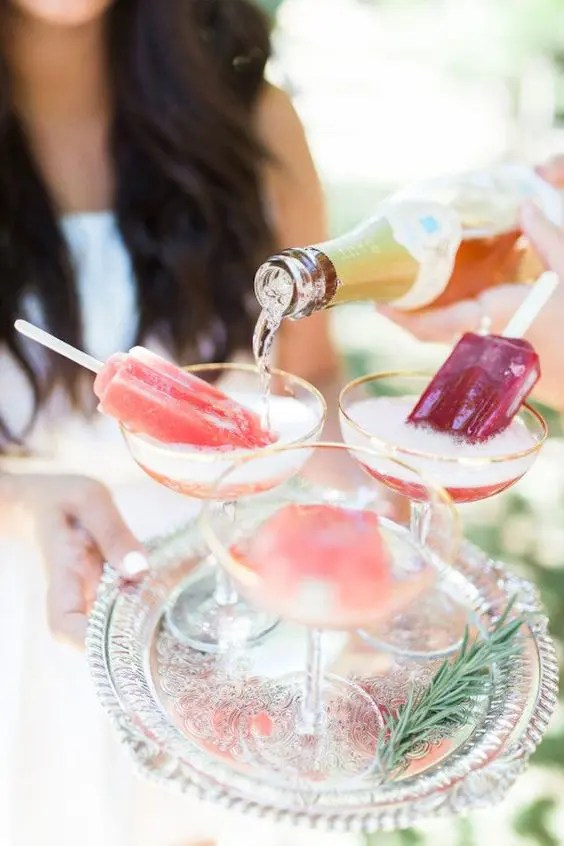 serve prosecco and popsicles to keep the girls cool and comfy if it's hot outside or just spoil them with these tasty treats