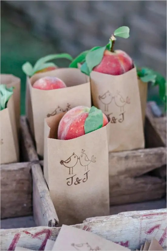 fresh peaches in paper bags are a delicious way to embrace the season and let your guests enjoy a summer taste