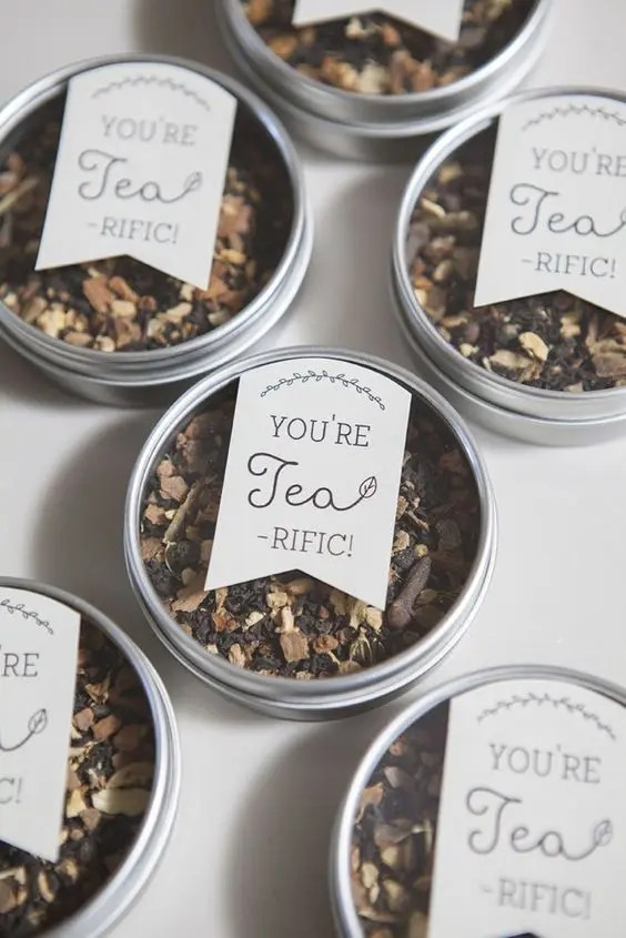 make your personal tea blend and put it into tin cans - it's a very personalized and cool idea