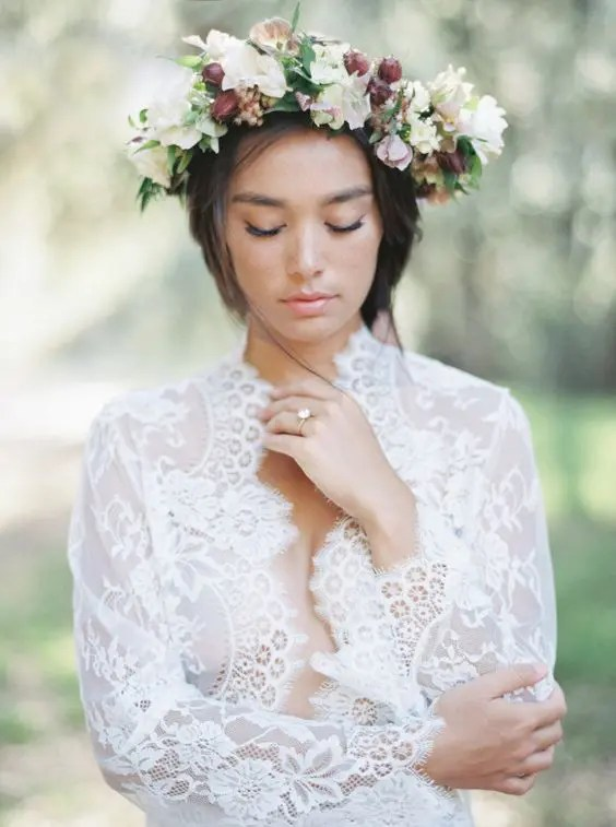 a fresh flower crown with white and mauve blooms and greenery
