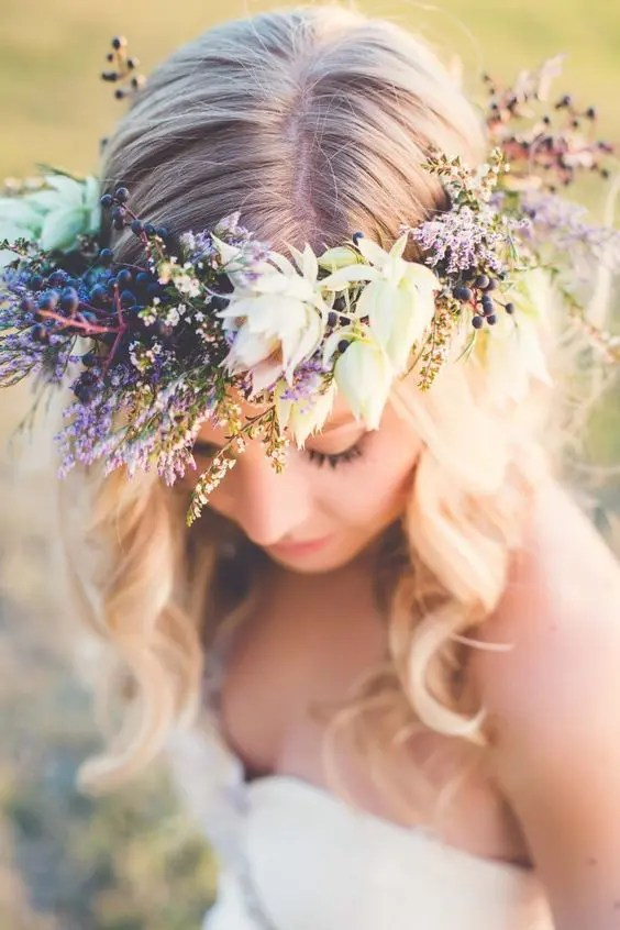 a textural fresh lavender crown with succulents is an unusual and creative solution