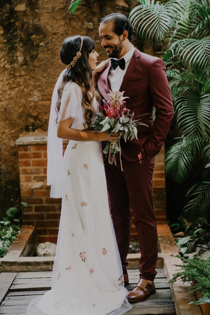 Picture Of A Burgundy Suit A Black Velvet Bow Tie Amber