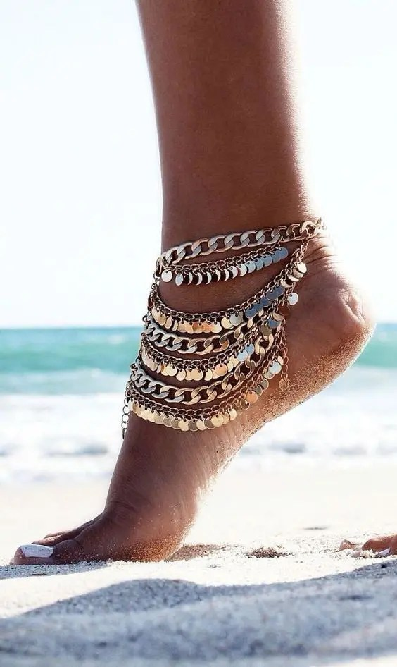 a multiple layer chain anklet with little coins for a boho or gypsy bridal look