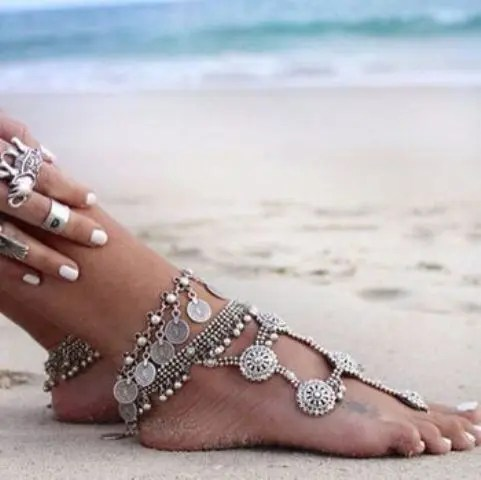 gypsy chan and coins anklets with much detailing to highlight your legs and add a boho feel