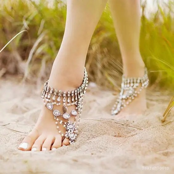bejeweled barefoot sandals with rhinestones, pearls and a unique look for adding a sparkling touch