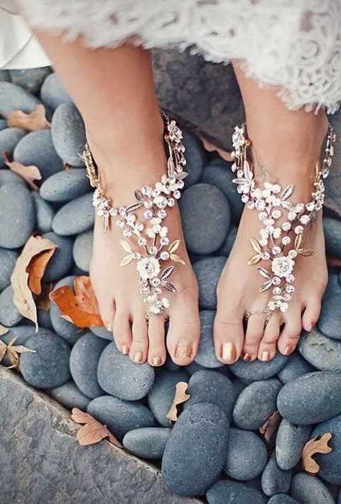 cute floral barefoot beach sandals with rhinestones and leaves for a garden bride