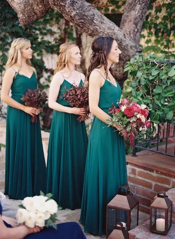 Matching Jewel-Tone Bridesmaids' Dresses | 15 Jewel Tone Bridesmaids' Dresses To Make A Statement