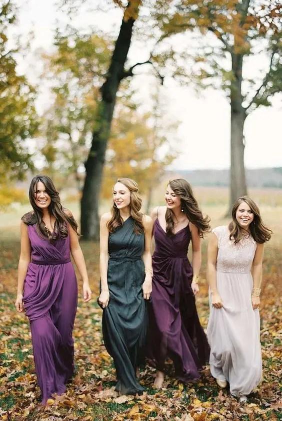 Mismatching Jewel-Tone Bridesmaids' Dresses | 15 Jewel Tone Bridesmaids' Dresses To Make A Statement