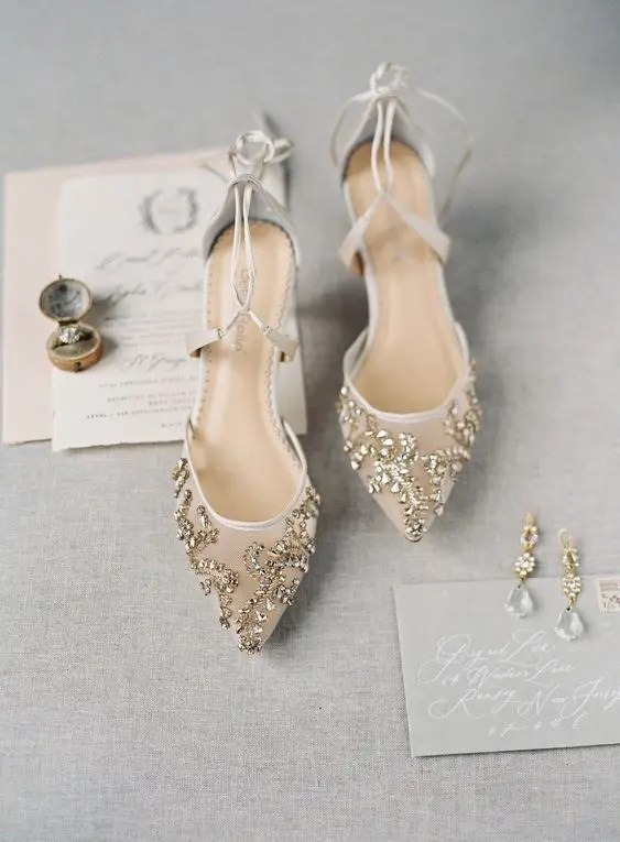 chic nude wedding shoes with gold rhinestons and straps for an ethereal look