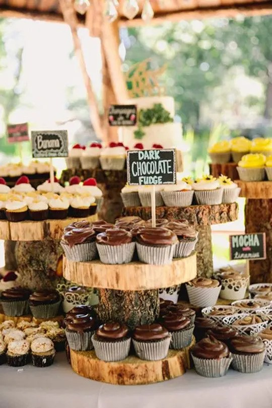 chalkboard toppers are a nice idea for any dessert table, and you may change names of the sweets any time