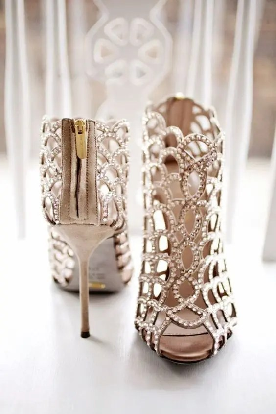 nude heavily embellished laser cut wedding booties for a fashion statement