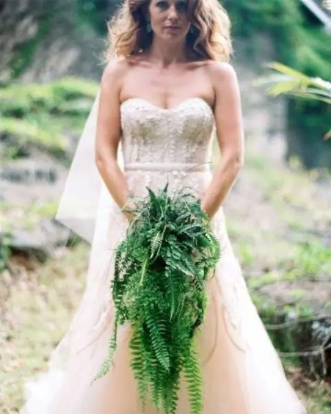 a cascading fern wedding bouquet is a spectacular idea that will fit many wedding styles