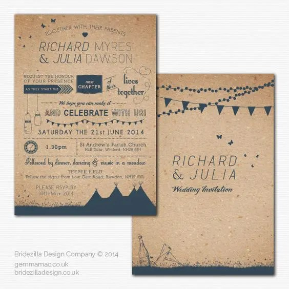 a summer wedding invitation suite made of recycled paper and with teal printing