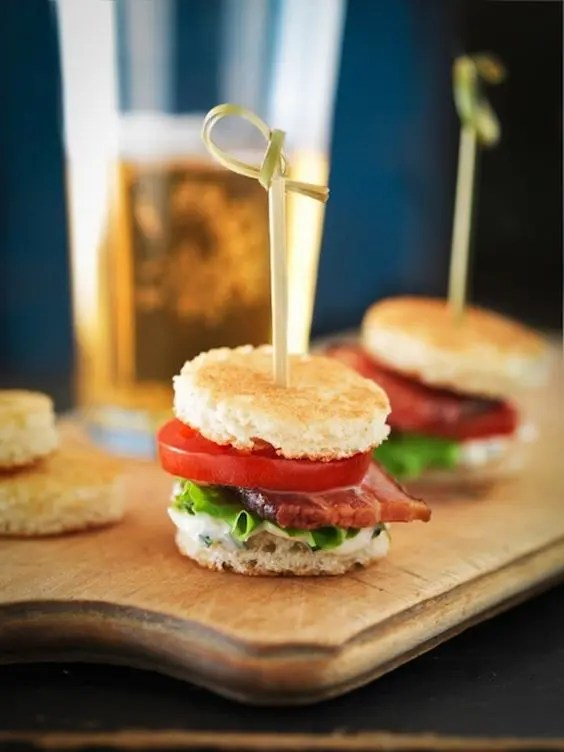 mini panini with tomatoes, bacon and herbs are a tasty cocktail hour idea