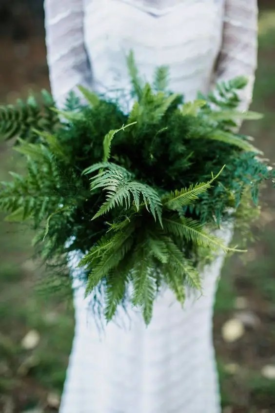 a fern wedding bouquet is a great idea for a modern or minimalist bride, it won't wither