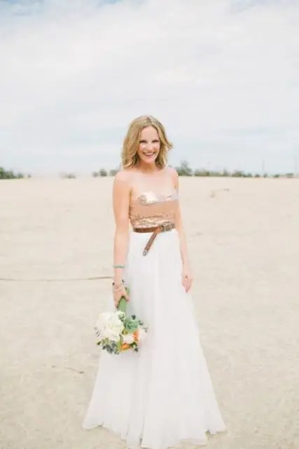 a creative wedding separate of a straples sequin top and an A-line skirt plus a belt