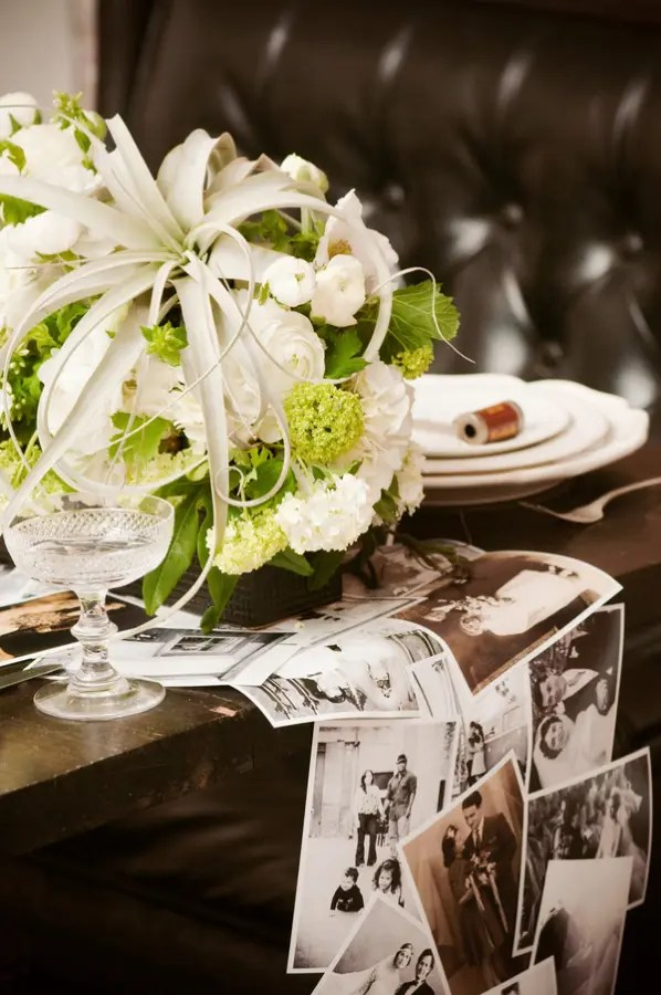 DIY photo wedding table runner (via ruffledblog.com)