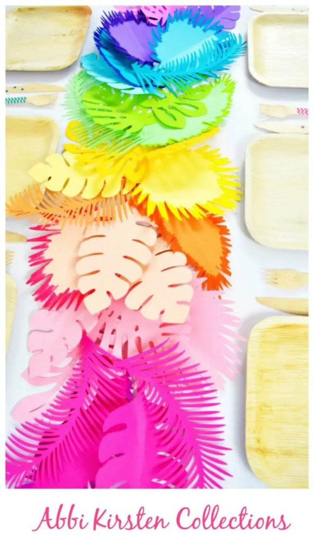 DIY rainbow paper leaf and flower table runner (via www.abbikirstencollections.com)