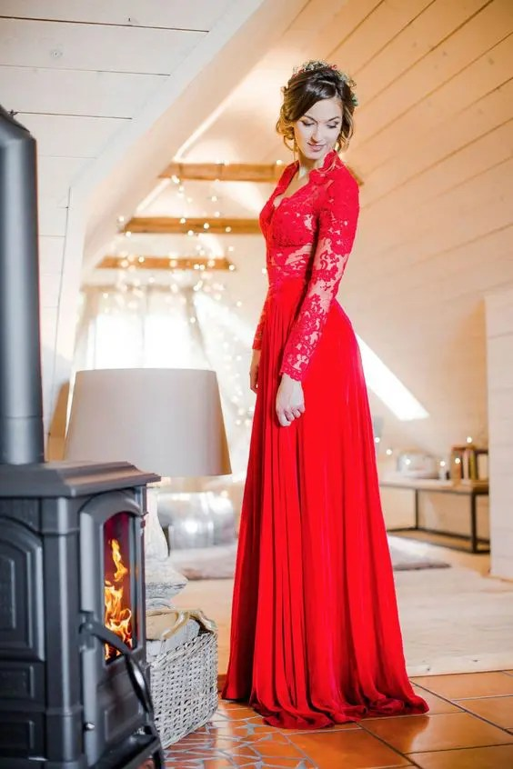 96fa3278f1d a jaw-dropping red strapless wedding gown with a super ruffled and long  train is a bold statement at Christmas. a hot red wedding gown with a lace  bodice ...