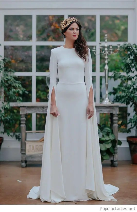 a0435ceca2ee a plain fitting wedding dress with a high neckline and creative long  sleeves for a modenr