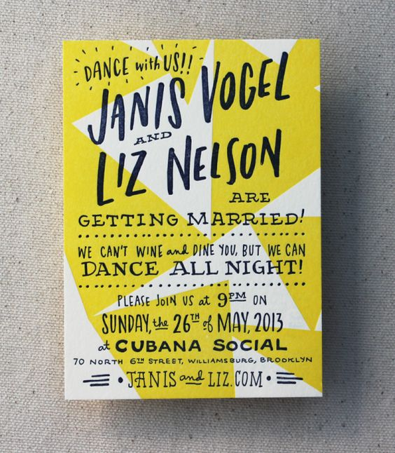 a bright neon yellow and white fun wedding invitation with a hand lettered text for dance-inspired wedding