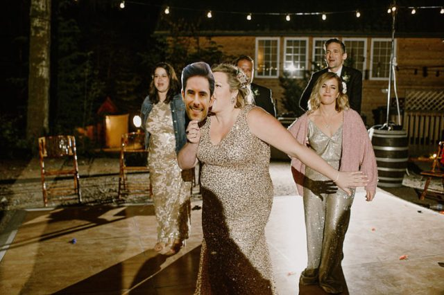 The bridesmaids were wearing sequins and sparkles