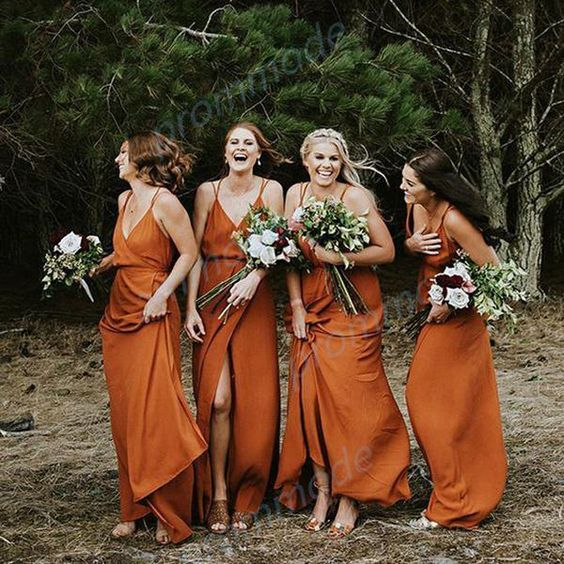 99027b2d02705f charming wrap rust bridesmaid dresses with spaghetti straps are ideal for a  boho wedding