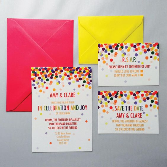 a super colorful wedding invitation suite with confetti is a bright idea to excite your guests