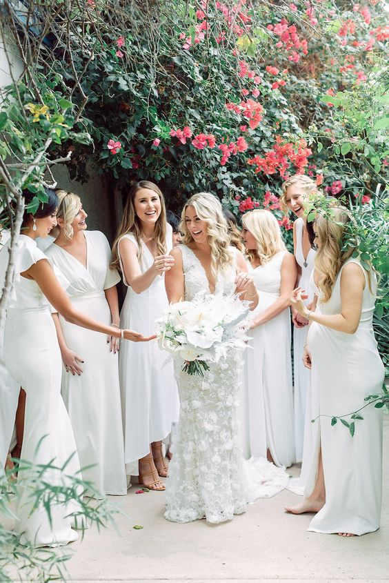 modern plain white bridesmaid dresses with various necklines and lengths for a bold look