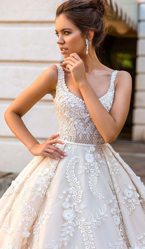 a thin straps scoop neckline wedding ballgown with lace appliques all over for a statement