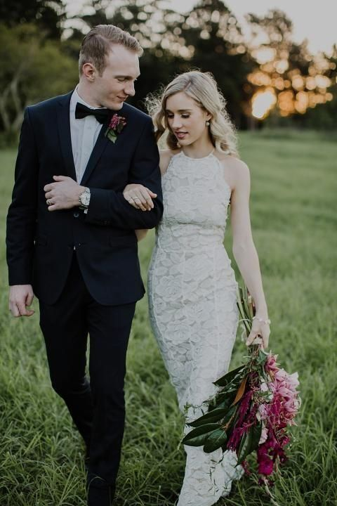a halter neckline lace sheath wedding gown for a modern and charming bride