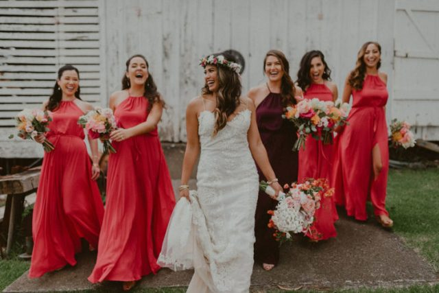 pink maxi bridesmaid dresses with halte rnecklines and front slits for a colorful look