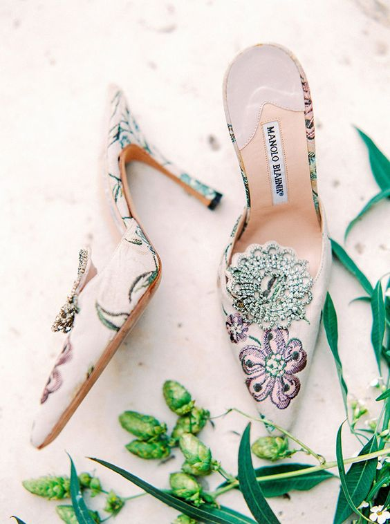 fashionable pointed toe floral embroidery mules with embellishments are perfect for a summer wedding