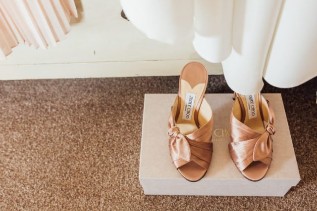 copper knotted mules by Jimmy Choose are a hot idea to accent your wedding outfit and give it an edgy feel