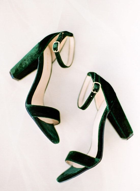 emerald velvet block heels with ankle straps will highlight your ankles and add a bold touch